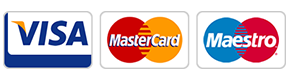Payment icons for Visa, MasterCard and Maestro